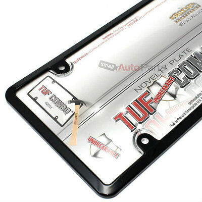 Black Plastic License Plate Tag Frame + Clear Tough Shield Cover for Car-Truck