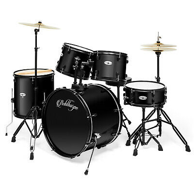 5-Piece Complete Full Size Pro Adult Drum Set Kit with Genuine Remo Heads