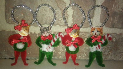 4 Vintage Style CHRISTMAS CAT  Chenille Ornaments