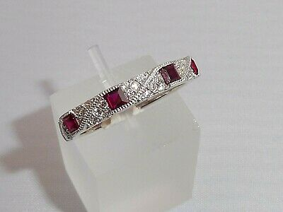 Ladies Art Deco Halo Style 925 Sterling Silver Sapphire & Ruby Eternity Ring