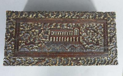 FINE ANTIQUE CARVED MAHOGANY BOX 1840 CHURCH FOXES & PHEASANTS folk art sampler