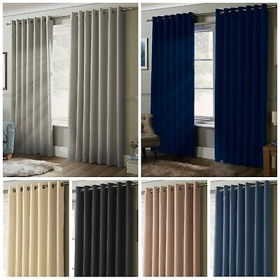 100% Blackout Coated Thermal Plain Curtains Ring Top Eyelet Pair Unlined Matte