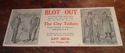 Advertising Ink Blotter Ripp Bros New Windsor MD Maryland / Tailors Suits