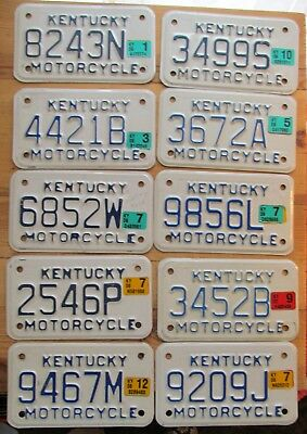 BULK LOT of 10 Kentucky 2000's MOTORCYCLE License Plates NICE QUALITY