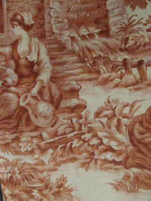 5 Pieces~Vintage Romantic Red Tan TOILE Linen Fabric~Lg Country Scenes
