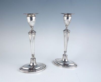 English Sterling Silver Early 20c Candlesticks London 1908