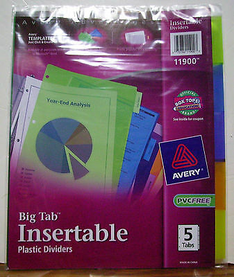 Avery 11900 Big Tab Plastic Dividers Insertable Multicolor Lot Of