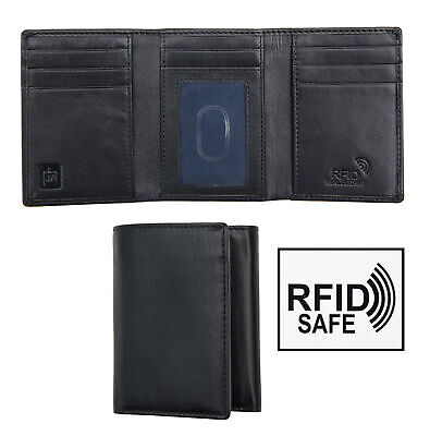 Tuscan Leather Men's Calf Hide Black leather Trifold Wallet RFID Blocking