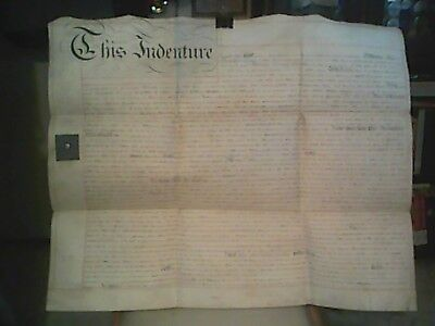 "Large Antique English 22 1/2"" X 27"" Indenture Made On Vellum Dated July 5, 1816"