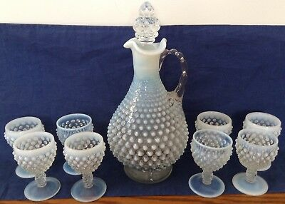 Vintage Fenton Art Glass French Opalescent Hobnail Decanter And 8 Wine Glasses