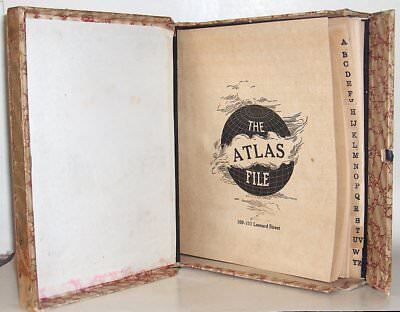 2Antique Cardboard Letter Files CROWN ATLAS Alphabet Tabs Bookshelf Storage