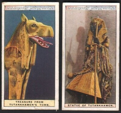 2 Ancient Egypt c90 Y/O Trade Cards - Tutankhamun Tomb Treasure and Statue