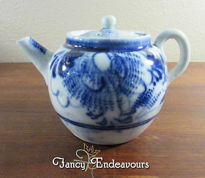 Old Asian Chinese or Japanese Porcelain Blue & White Small Teapot