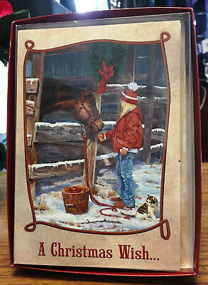 New Leanin' Tree Boxed Christmas Cards Girl & Horse Includes Design Envelopes