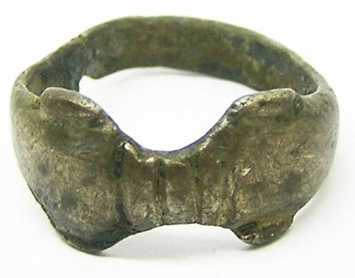 1st - 3rd century A.D Nice Excavated Roman Embracing Dolphins Silver Finger Ring