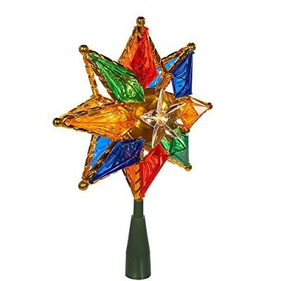 10 LED Light 8 Point Star Christmas Tree Topper Top Multicolored Holiday Festive