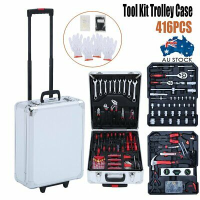 416 Piece Tool Kit Trolley Case Home DIY Tool Carry Roller Case Set 2018 New Pro
