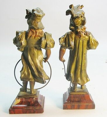Unique Pair of FRENCH ART NOUVEAU Sculptures of Girls Playing  c. 1890  antique