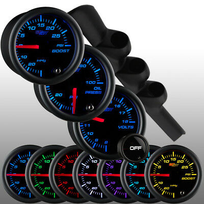 GlowShift Tinted 7 Gauge Package + Black Triple Pod for 98-02 Dodge Ram Cummins