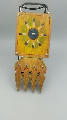 Native American Indian Wooden Mirror with Art