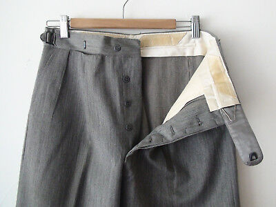 ORIGINAL VINTAGE DEADSTOCK 30s 1940S MEN'S GREY BUTTON FLY WOOL PANTS W29 X 28.5