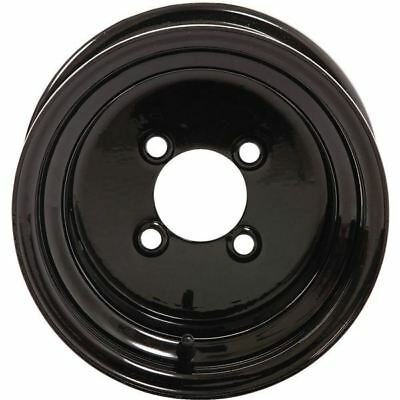 Black 10x7, 4/4, 3+4 Slasher Products 10 Inch Steel Golf Cart Wheel - 10ST105