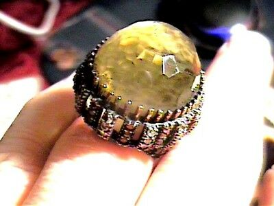 Vintage Antique Citrine Silver Ring 8 Medieval Sapphire Sterling 925 Cocktail