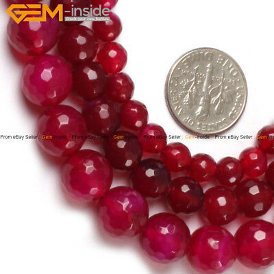 """Faceted Round Gemstone Plum Agate Loose Beads Jewelry Making Strand 15"""" In Lots"""