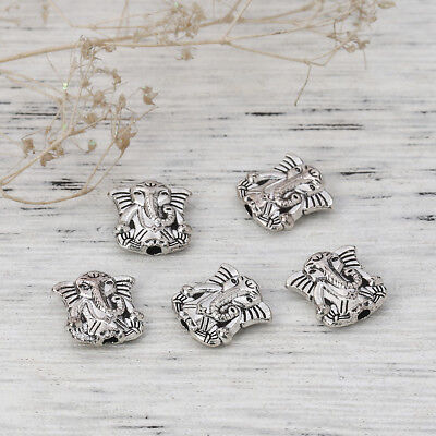 lot de 10 perles elephants   argent tibétain 10 mm argenté bouddha zen