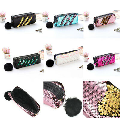 Mermaid Color Reversible Glitter Cosmetic Bag Sequin Make Up Case For Girl Women