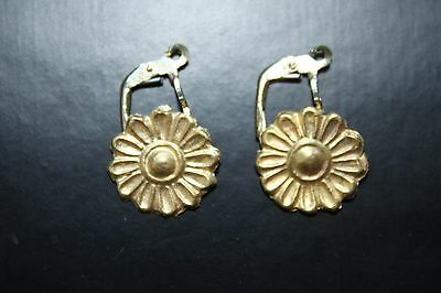 ANCIENT GREEK HELLENISTIC ROSETTE GOLD EAR RINGS 3rd CENTURY BC