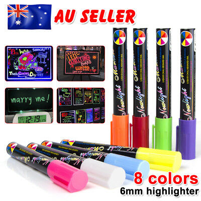 8 Colours Dual Nib 6mm Neon Liquid Chalk Pen Marker Blackboard Window Writing