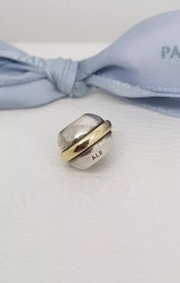 Authentic Pandora Silver Gold Two Tone Saturn Ring Charm 790178 Retired ALE 925