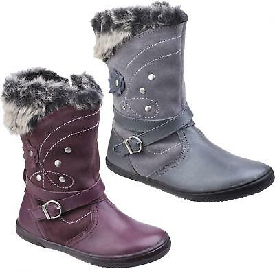 Hush Puppies PIPPA Girls Leather/Suede Floral Mid Calf Warm Winter Boots