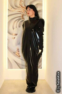 100% Latex Rubber Unisex Bodybag Saunasack Latexanzug Schwarz mit Zipper Fetish