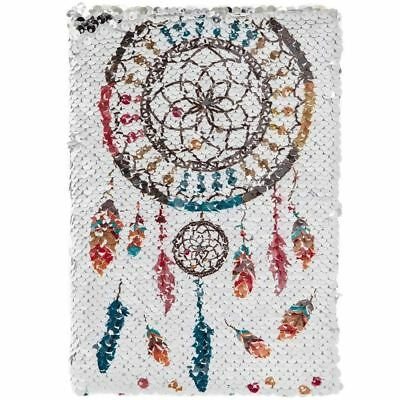 A5 Reversible Sequin Dream Catcher Notebook Silver Lined Notepad Diary Journal