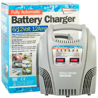 Streetwize Fully Automatic Battery Trickle Charger 6/12Volt 12Amp Car Motorcycle