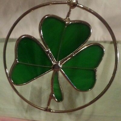 STAINED GLASS WINDOW or OUTDOOR HANGING GREEN 3 LEAF CLOVER GOOD LUCK NEW WOT