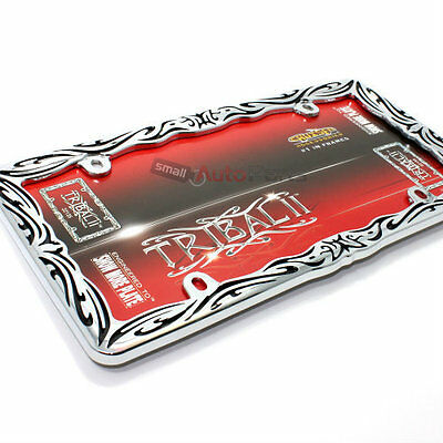 Tribal Chrome/Black Metal License Plate Tag Frame for Auto-Car-Truck