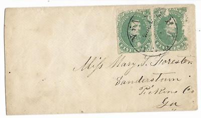 CSA Cover Yorktown, Va to Miss Mary Forester in Sanderstown, Ga HP CS #1 Stamps