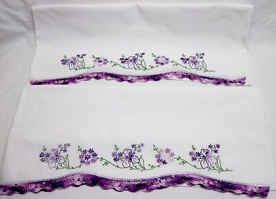 Pair of Purple Floral Fancy Crocheted Edge Pillow Cases (NEW)