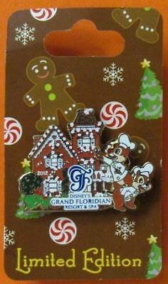 Disney Pin WDW Gingerbread House 2012- Grand Floridian - Chip an Dale LE2000