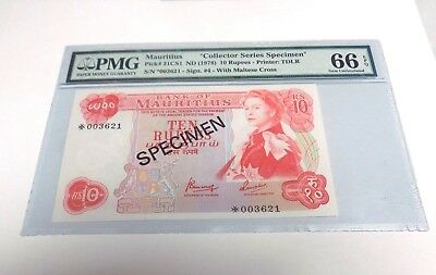 PMG MAURITIUS 1978 10 RUPEES Pick#31CS1 SPECIMEN SERIES Gem Uncirculated 66 EPQ