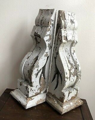 1890's Antique 1 pair wood  corbels brackets Victorian shabby Gray 585-18