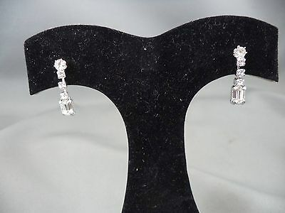 Elegant Classy Rhinestone Silver Tone Dangle Drop Pierced Earrings
