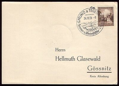 Germany 1938 - Third Reich Gmund a Tegernsee Special Town Postmark on Postcard
