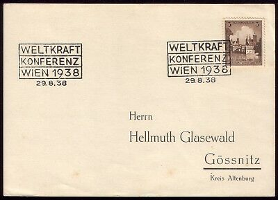 Germany 1938 - Third Reich World Power Conference Vienna Special Postmark on PC