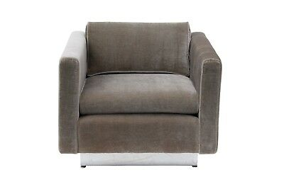 Stow & Davis Cube Club Chair Newly Reupholstered Plush Grey Velvet w Chrome Base