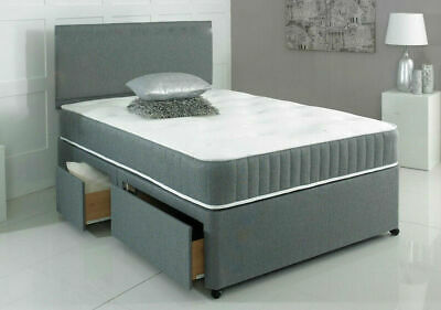 GREY SUEDE MEMORY  DIVAN BED SET WITH MATTRESS HEADBOARD 3FT 4FT6 Double 5FT