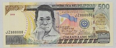 Philippines 2009 500 Peso Bank Note Fancy Serial Number 8'S (888)